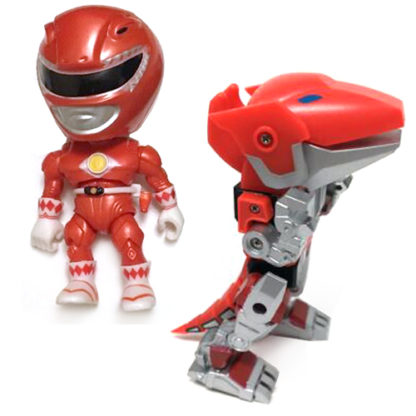The Loyal Subjects: Mighty Morphin Power Rangers - Red Ranger + Zord SET (Metallic) - superchan.de